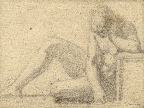 Follower of Richard Wilson RA, Classical Nude Figure -18th-century chalk drawing