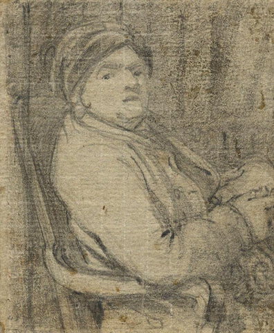 Follower of Richard Wilson RA, Seated Man Portrait - 18th-century chalk drawing