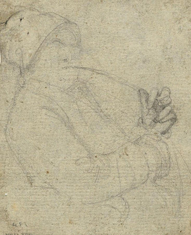 Follower of Richard Wilson RA, Man with Pipe Portrait 18th-century chalk drawing