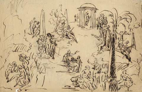 Attrib. Sir James Thornhill, Allegorical Studies - 18th-century ink drawing