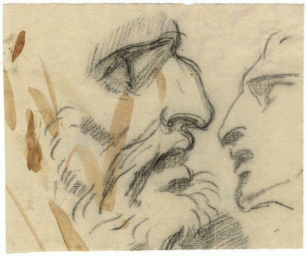 William Lock the Younger, Portrait Studies of Man in Profile - c.1780 drawing