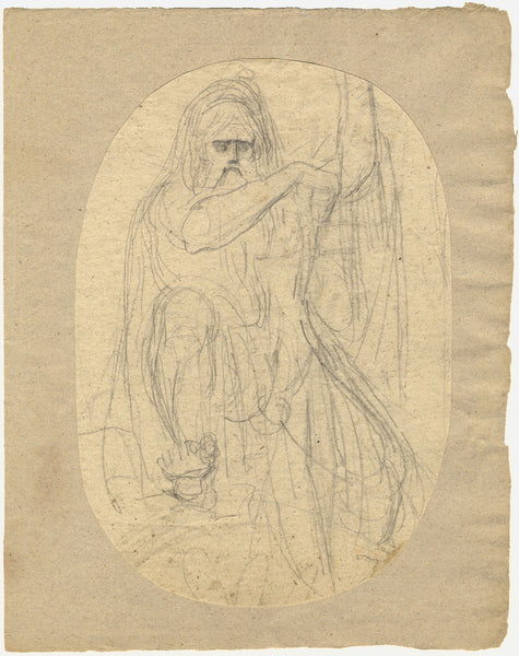 William Lock the Younger, Warrior Drawing his Sword - c.1780 graphite drawing