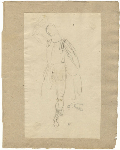 William Lock the Younger, Classical Soldier with Raised Sword - c.1780 drawing