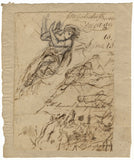 William Lock the Younger, Classical Goddess & Battle Sketches - 1780 ink drawing