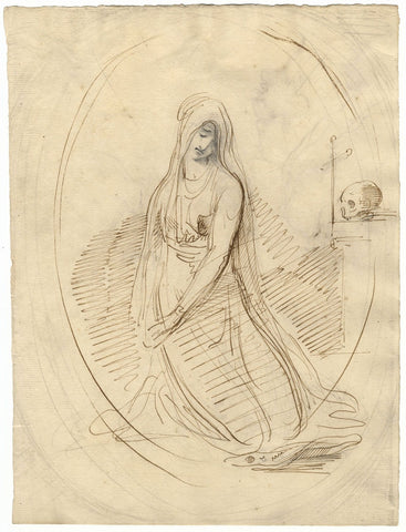 William Lock the Younger, Mary Magdalene with Skull & Cross - c.1780 ink drawing