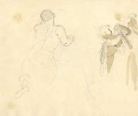 William Lock the Younger, Male & Female Figure Studies - c.1780 graphite drawing