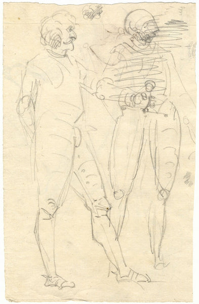 William Lock the Younger, Soldiers in Armour - Original c.1780 graphite drawing