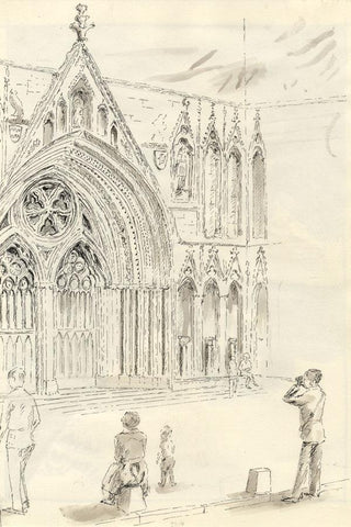 E.F. Hearfield, York Minster Cathedral  - Original 1980s pen & ink drawing