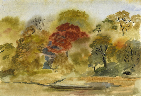 E.F. Hearfield, Autumn Trees, Yorkshire - Original 1980s watercolour painting