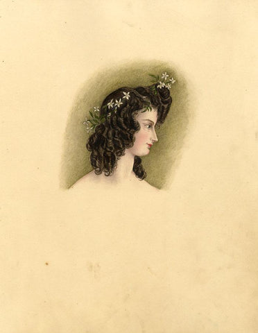 Portrait of a Lady with Flowers in Hair - Original 1830s watercolour painting