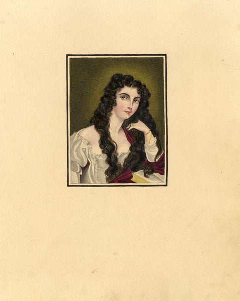 Portrait of Young Lady Reading - Original 1830s watercolour painting