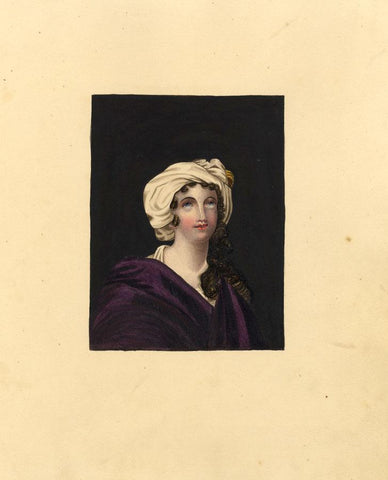 Portrait of Young Lady in Draped Turban - Original 1830s watercolour painting
