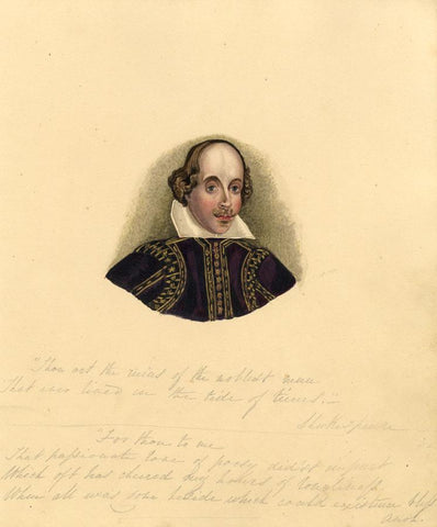 Portrait of Shakespeare - Original 1830s watercolour painting