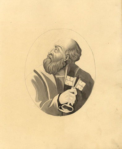 Portrait of St Peter with Keys of Heaven - Original 1830s watercolour painting
