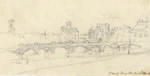 George Arnald ARA, Pont des Arts & Pont Neuf, Paris - c.1818 graphite drawing