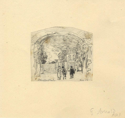 George Arnald ARA, At the Theatre, Paris - Original c.1818 graphite drawing