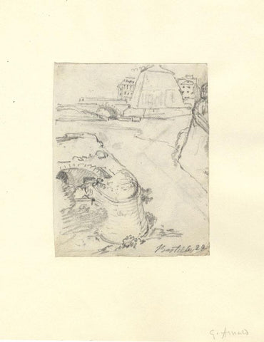 George Arnald ARA, Bastille Ruins, Paris - Original c.1818 graphite drawing