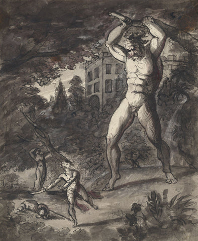 Circle of Henry Fuseli RA, A Rampaging Giant - Early 19th-century ink drawing
