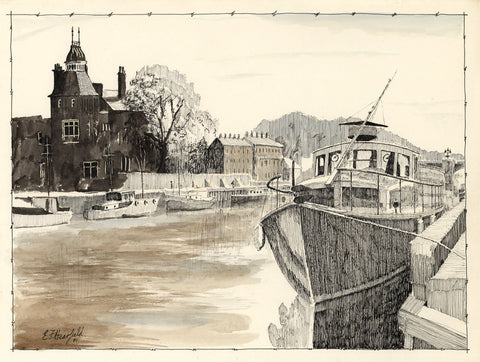 E.F. Hearfield, Moored Boats, River Ouse, York - Original 1980 pen & ink drawing