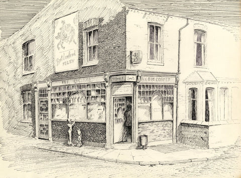 E.F. Hearfield, Off Licence Old Shop Front, York - 1980s pen & ink drawing