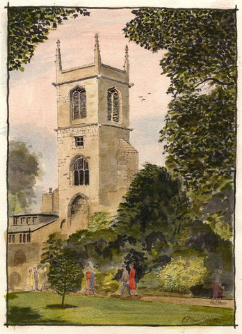 E.F. Hearfield, St Olave's Church, York - Original 1984 watercolour painting