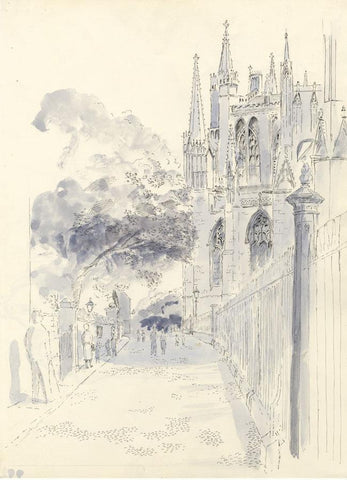 E.F. Hearfield, York Minster Cathedral View - Original 1980s pen & ink drawing