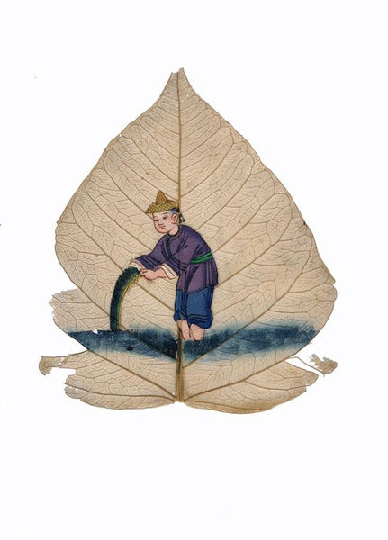 Antique 19th-century Chinese Peepal Leaf Painting - Fisherman with Net