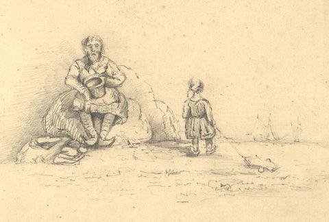 Dashwood, Dutch Man & Child on Beach -Original mid-19th-century graphite drawing