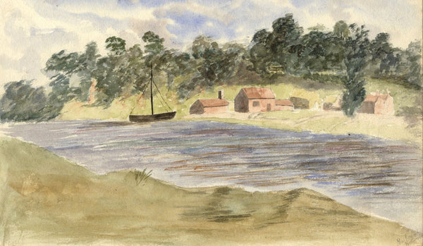 M.A. Wynell-Mayow, Cottages on the Trent, Nottingham -1880s watercolour painting