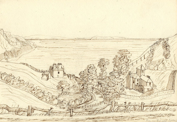 M.A. Wynell-Mayow, Seaton View from Beer Road, Devon - 1880s pen & ink drawing