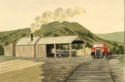 Allan Furniss, Saw Mill & Truck, Aberfeldy - Original 1940s watercolour painting