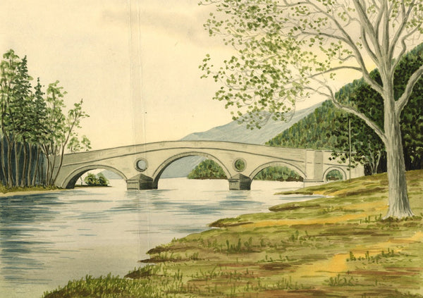 Allan Furniss, Kenmore Bridge & Ben Lawers, Loch Tay - 1940s watercolour painting
