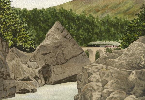 Allan Furniss, Soldier's Leap, Pass of Killiecrankie - 1945 watercolour painting