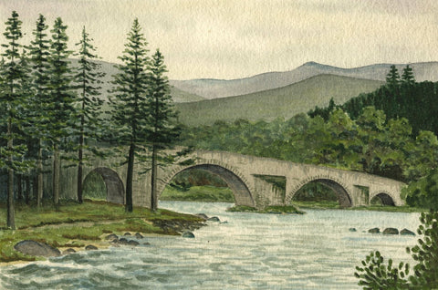 Allan Furniss, Stone Bridge, Scotland - Original 1940s watercolour painting