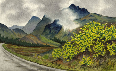 Allan Furniss, Low Cloud, Great Glen near Invergarry - 1946 watercolour painting