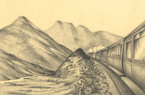 Allan Furniss, Inverness Express Steam Train, Drumochter - 1946 graphite drawing