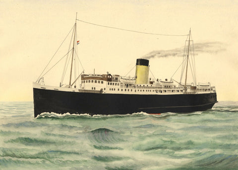 Allan Furniss, TSS Princess Maud Steamship Stranraer Larne - 1940s watercolour