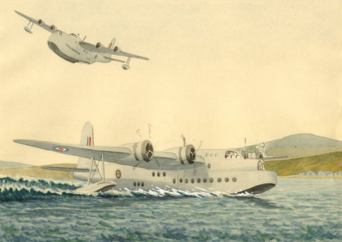 Allan Furniss, Sunderland Flying Boats, Stranraer - 1940s watercolour painting