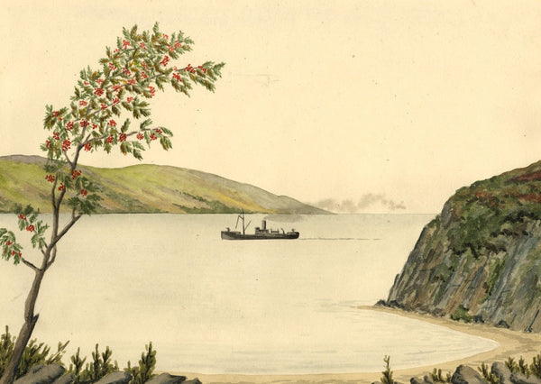 Allan Furniss, Steamboat, Finnarts Bay, Loch Ryan - 1940s watercolour painting