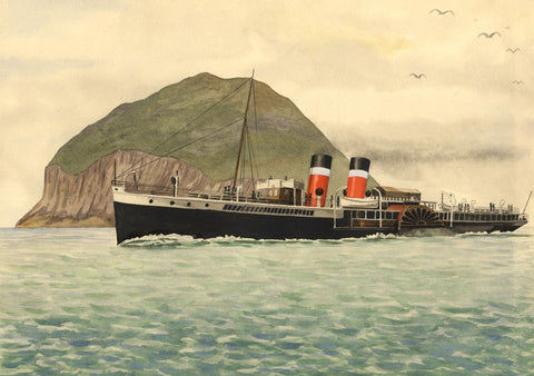 Allan Furniss, PS Jeanie Deans Paddle Steamer, Ailsa Craig - 1940s watercolour