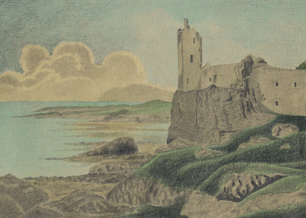 Allan Furniss, Dunure Castle, Ayrshire - Original 1940s graphite drawing