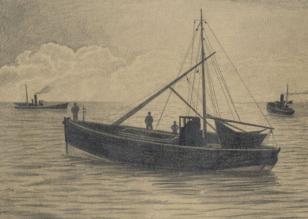 Allan Furniss, Herring Fleet Boats at Sunset, Ayr - 1940s graphite drawing