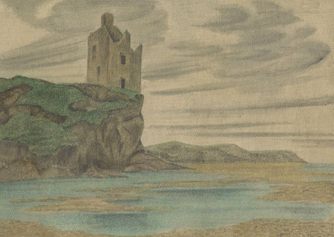 Allan Furniss, Greenan Castle, Ayr, Scotland - Original 1940s graphite drawing