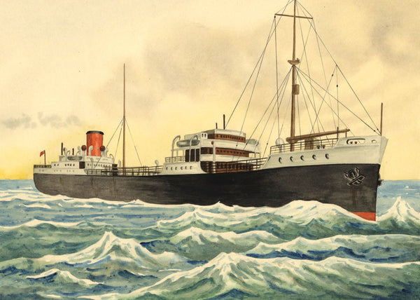 Allan Furniss, Oil Tanker Steamship, Firth of Clyde - 1940s watercolour painting