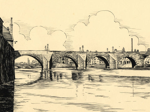 Allan Furniss, The Twa Brigs o'Ayr Bridges - Original 1940s pen & ink drawing