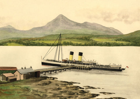 Allan Furniss, Steamship at Brodick Pier, Arran - 1940s watercolour painting