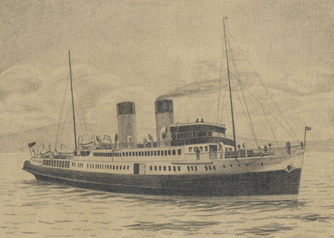 Allan Furniss, TS Duchess of Hamilton Steamboat -Original 1940s graphite drawing