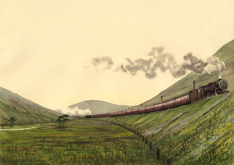 Allan Furniss, LMS Steam Train, Beattock Incline - 1943 watercolour painting