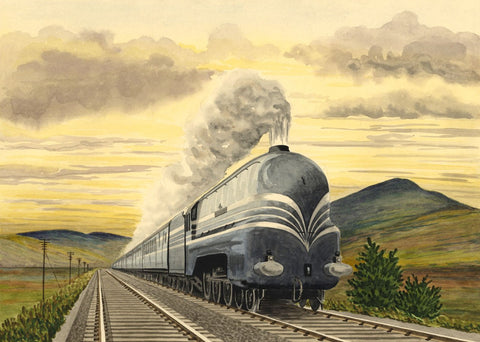 Allan Furniss, LMS Steam Train Coronation Scot - 1940s watercolour painting
