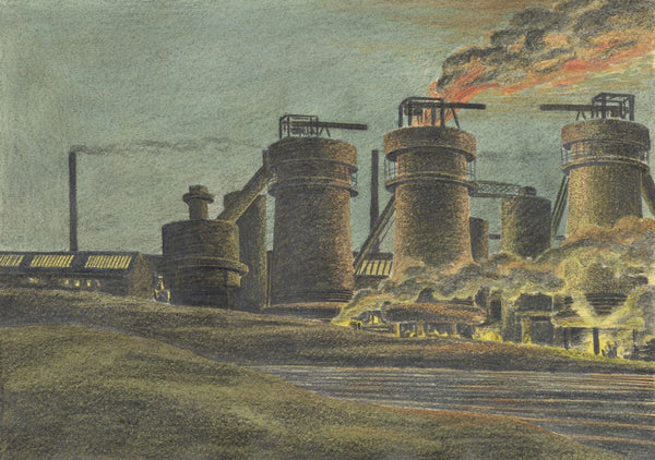 Allan Furniss, Industrial Plant Chimneys, Scotland - 1940s graphite drawing